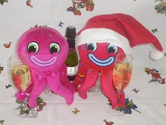 Pulpos felicitando la navidad